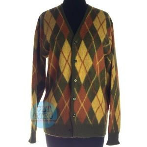 70s vtg Mohair Argyle Sweater
